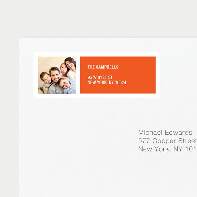 Color Block Return Address Labels - Orange