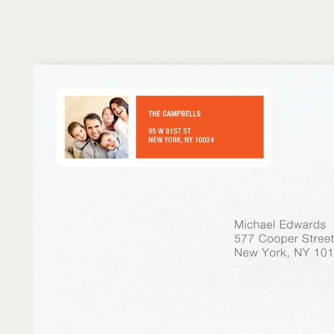 Color Block Return Address Labels - Orange