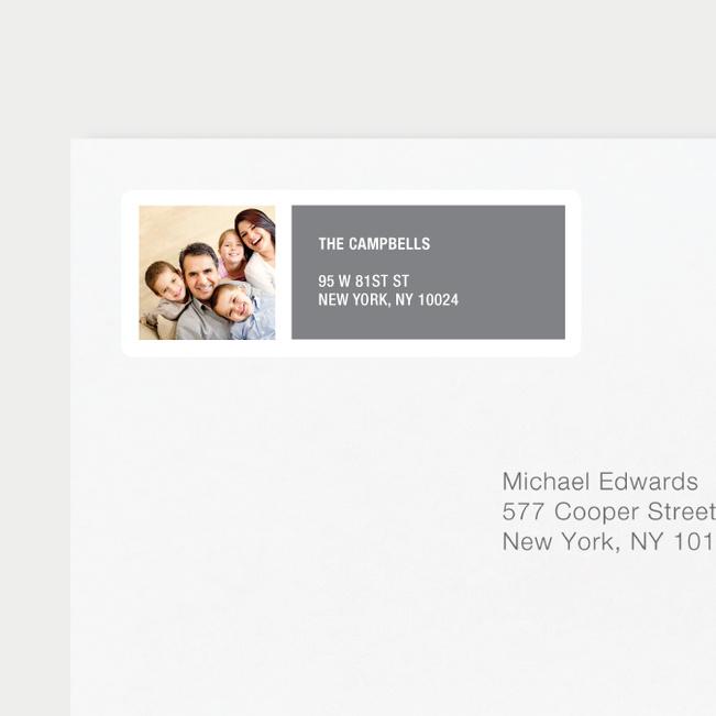 Color Block Return Address Labels - Gray