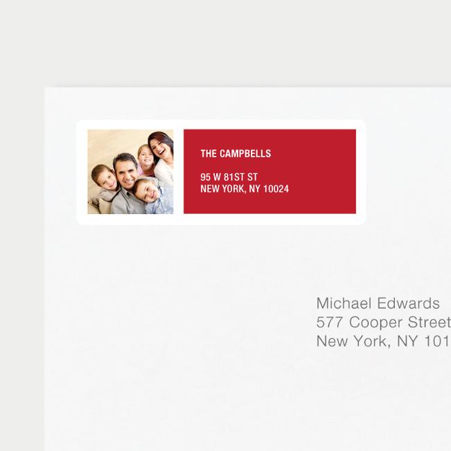 Color Block Return Address Labels - Red