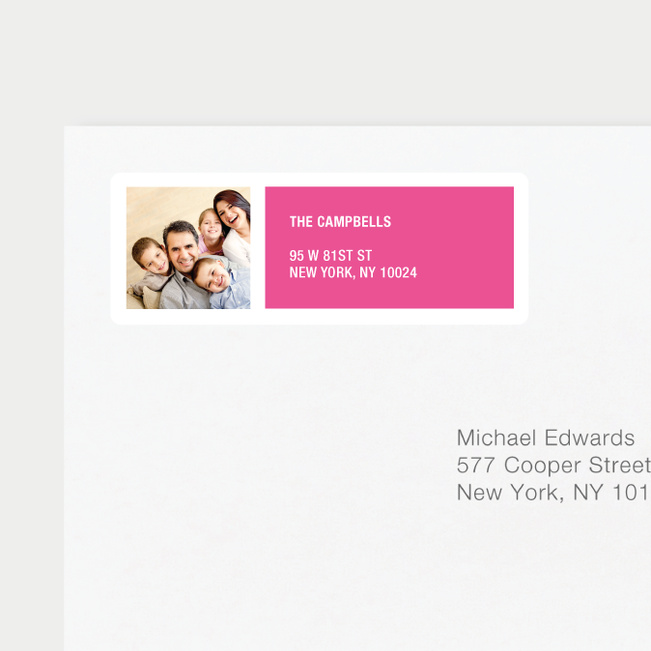 Color Block Return Address Labels - Pink