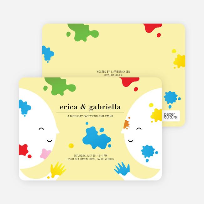 Color Me Birthday Kids Birthday Invitations - Banana Peel