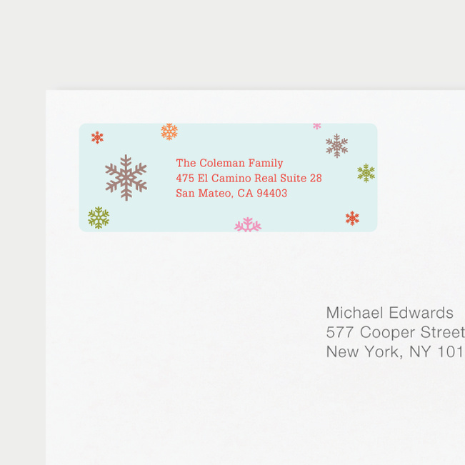 Colorful Snowflakes Personalized Address Labels - Green