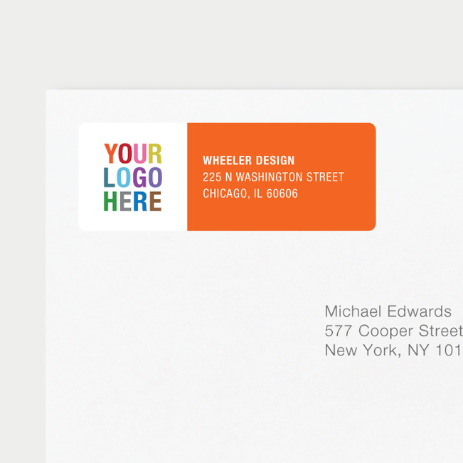 Company Logo Return Address Labels - Orange