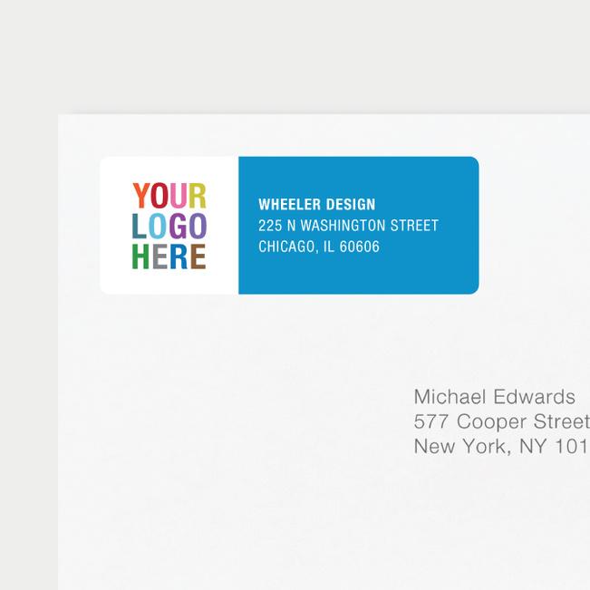 Company Logo Return Address Labels - Blue