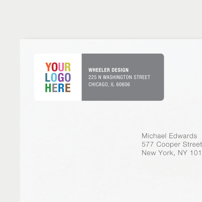 Company Logo Return Address Labels - Gray