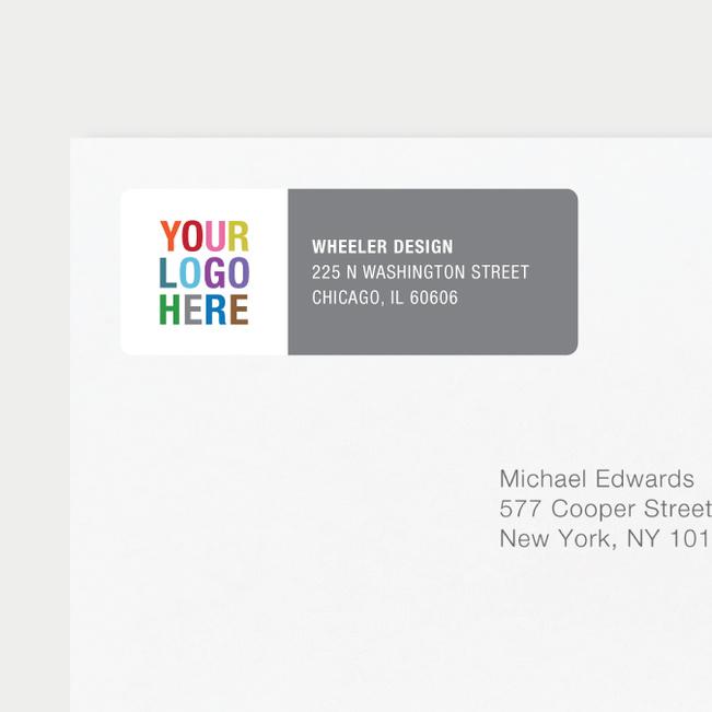 Company Logo Return Address Labels - Gray