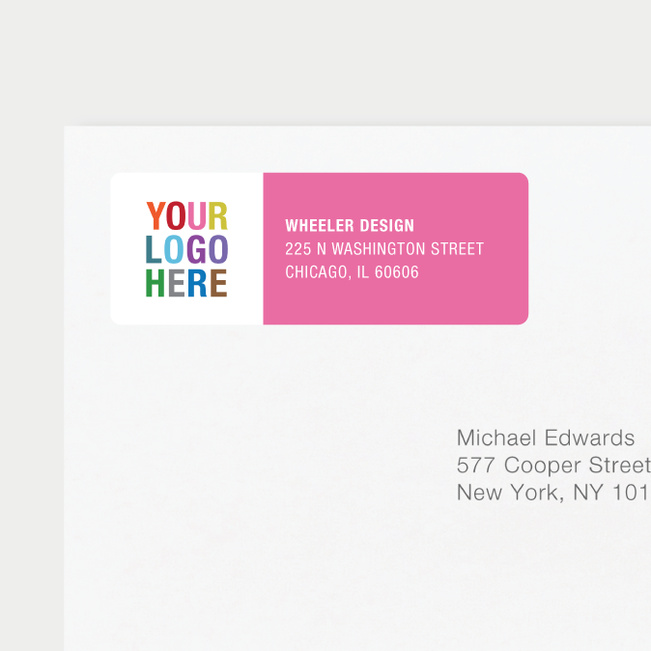 Company Logo Return Address Labels - Pink