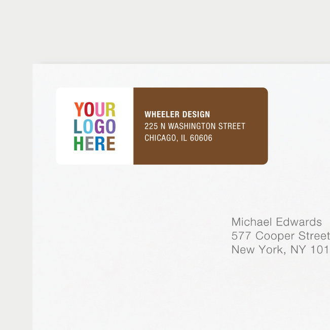 Company Logo Return Address Labels - Brown