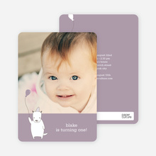 Dog Themed Photo Invitation - Light Eggplant