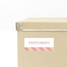 Diagonal Stripe Storage Labels - Pink