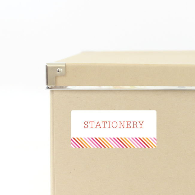 Diagonal Stripe Storage Labels - Pink