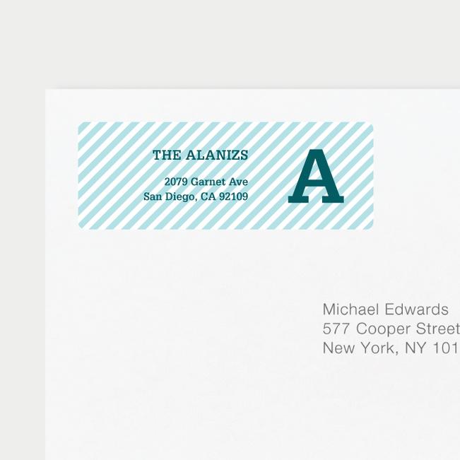 Diagonal Stripes Address Labels - Blue