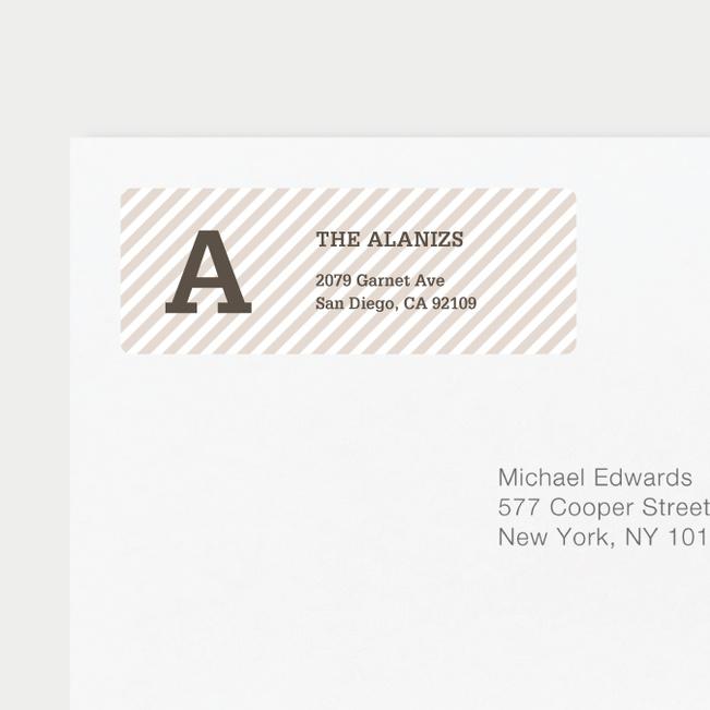 Diagonal Stripes Address Labels - Brown