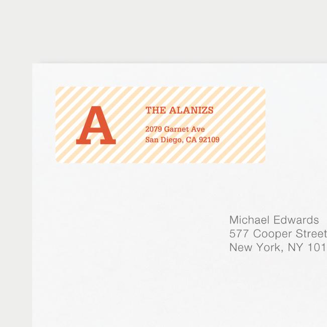 Diagonal Stripes Address Labels - Orange