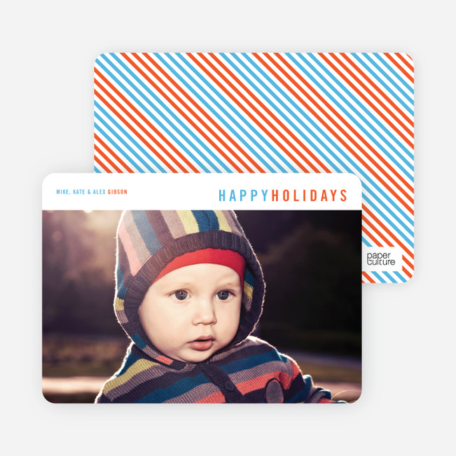 Christmas Cards with Diagonal Stripes - Blue