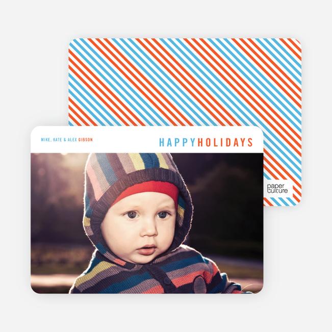 Diagonal Stripes Holiday Cards - Blue