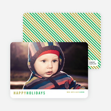 Diagonal Stripes Holiday Cards - Green