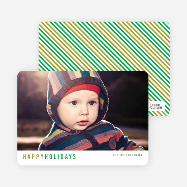 Christmas Cards with Diagonal Stripes - Green