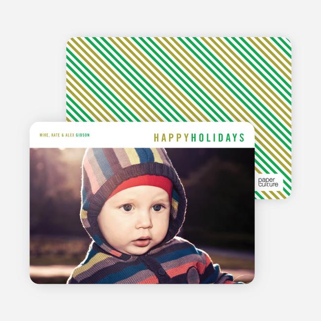 Diagonal Stripes Holiday Cards - Green