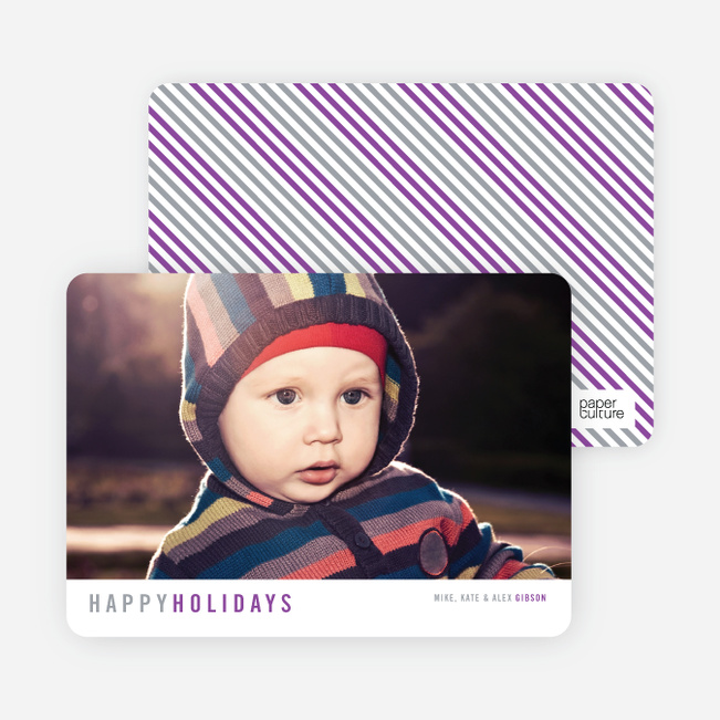 Christmas Cards with Diagonal Stripes - Gray