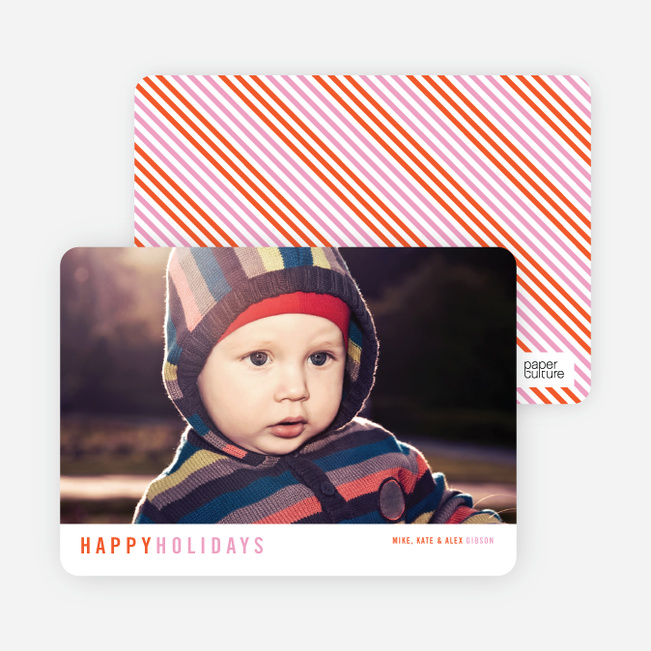 Christmas Cards with Diagonal Stripes - Orange
