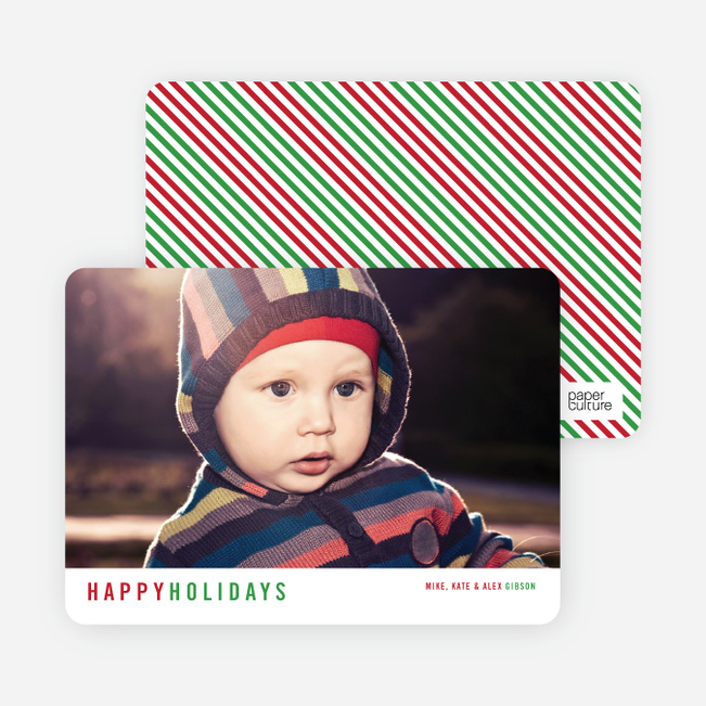 Christmas Cards with Diagonal Stripes - Red