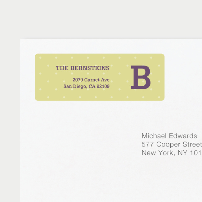 Eco Friendly Dot Pattern Return Address Labels - Purple