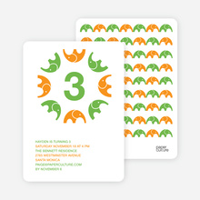 Elephant Kaleidoscope Modern Birthday Invitation - Paper Culture Green
