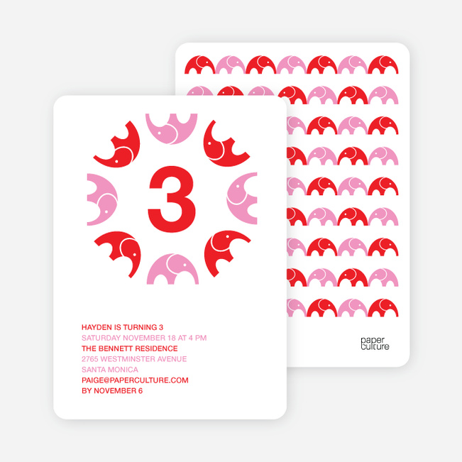 Elephant Kaleidoscope Modern Birthday Invitation - Bright Red