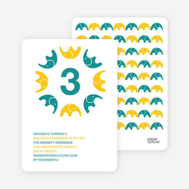 Elephant Kaleidoscope Modern Birthday Invitation - Turquoise