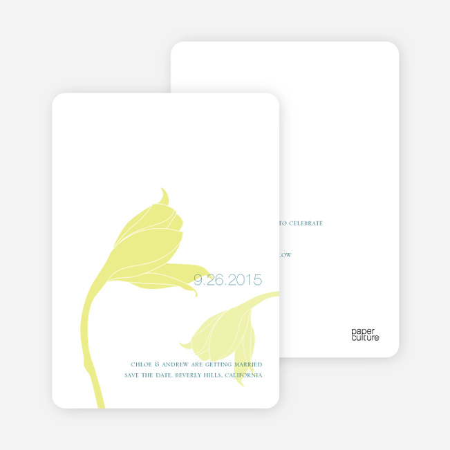 Floral Themed Modern Save the Date Cards - Neon Yellow