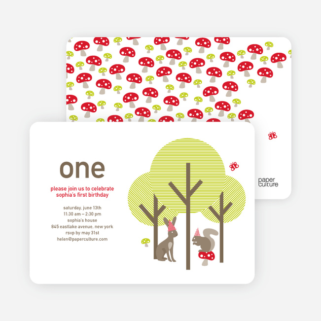 Kids birthday invitations paper culture forest themed modern birthday invitation taupe filmwisefo