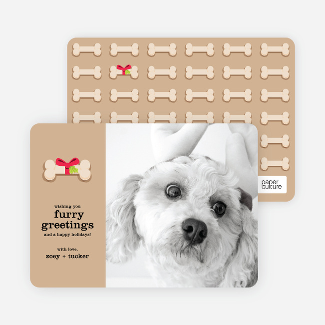 Furry Dog Holiday Cards - Beige
