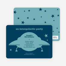 Galaxy Spaceship Modern Birthday Invitation - Peacock Blue