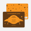 Galaxy Spaceship Modern Birthday Invitation - Green