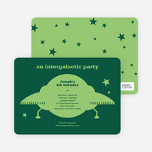 Galaxy Spaceship Modern Birthday Invitation - Forest Green