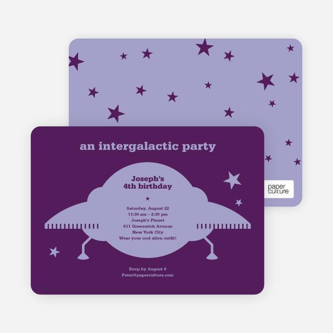 Galaxy Spaceship Modern Birthday Invitation - Violet