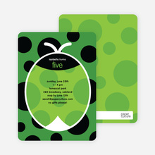 Green Ladybug Modern Birthday Invitation - Forest Green