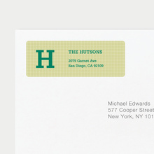 Grid Pattern Custom Return Address Labels - Green