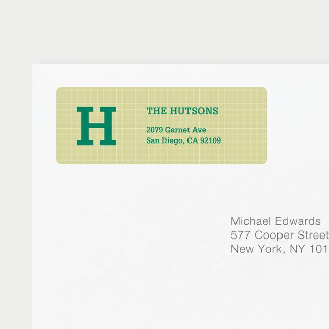 Grid Pattern Custom Return Address Labels - Green