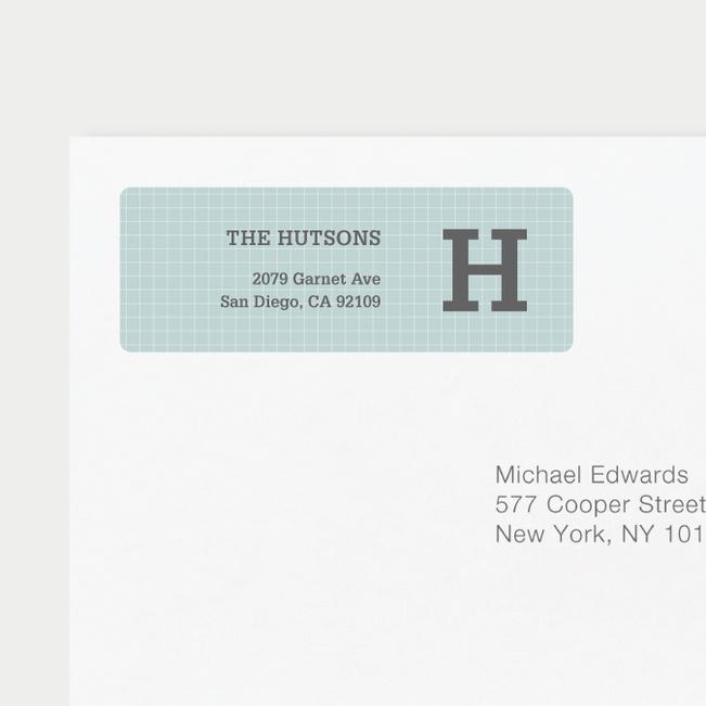 Grid Pattern Custom Return Address Labels - Gray