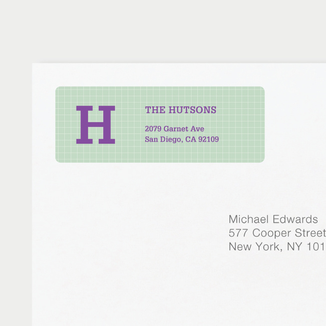 Grid Pattern Custom Return Address Labels - Purple