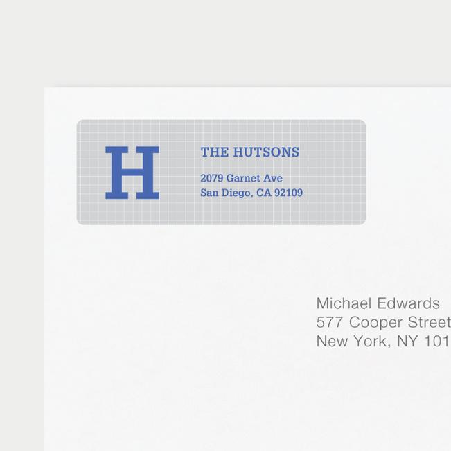 Grid Pattern Custom Return Address Labels - Blue