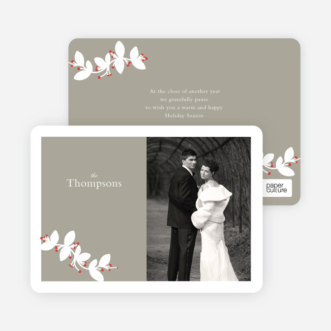 Holiday Branch Photo Cards - Red