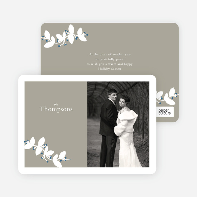 Holiday Branch Photo Cards - Blue