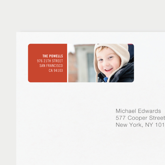 Horizontal Photo Right Personalized Address Labels - Red
