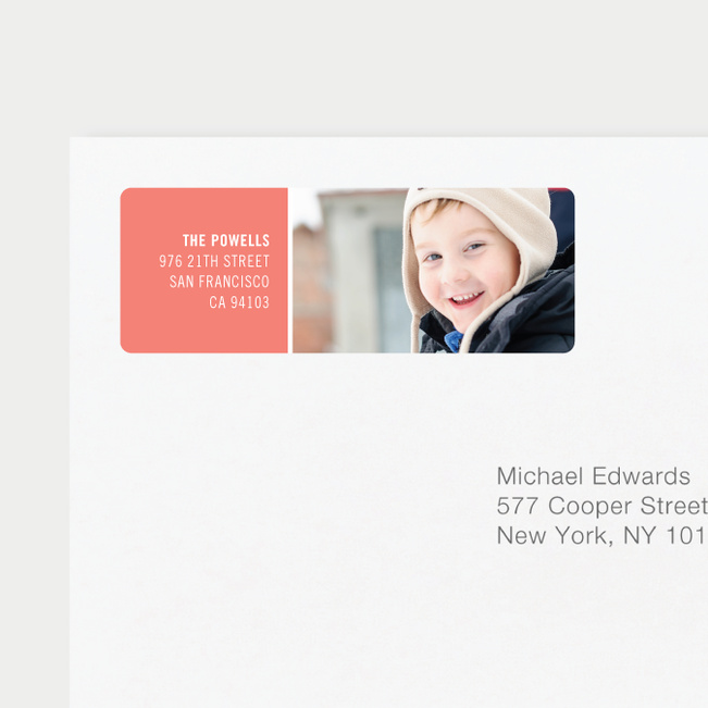 Horizontal Photo Right Personalized Address Labels - Pink