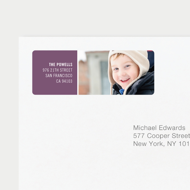 Horizontal Photo Right Personalized Address Labels - Purple