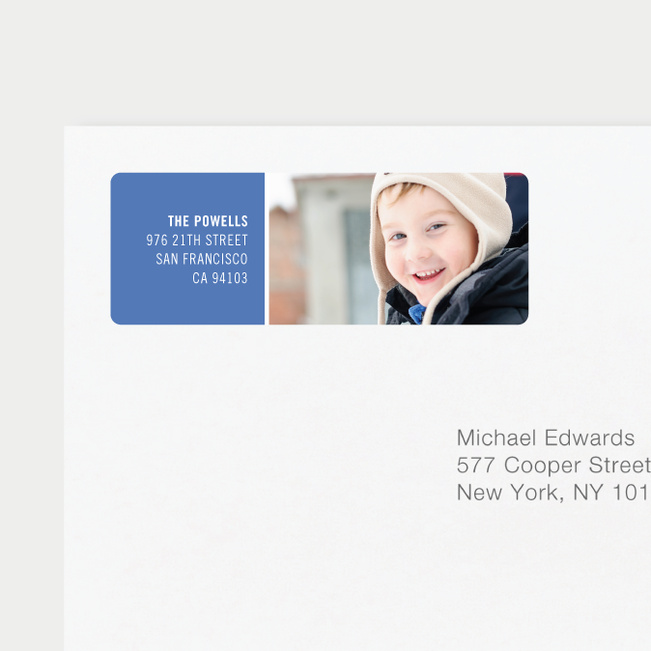 Horizontal Photo Right Personalized Address Labels - Blue